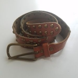 Gap brown studded embossed leather belt S/M